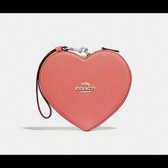 SOLD - Coach Heart Shaped Wristlet in Coral